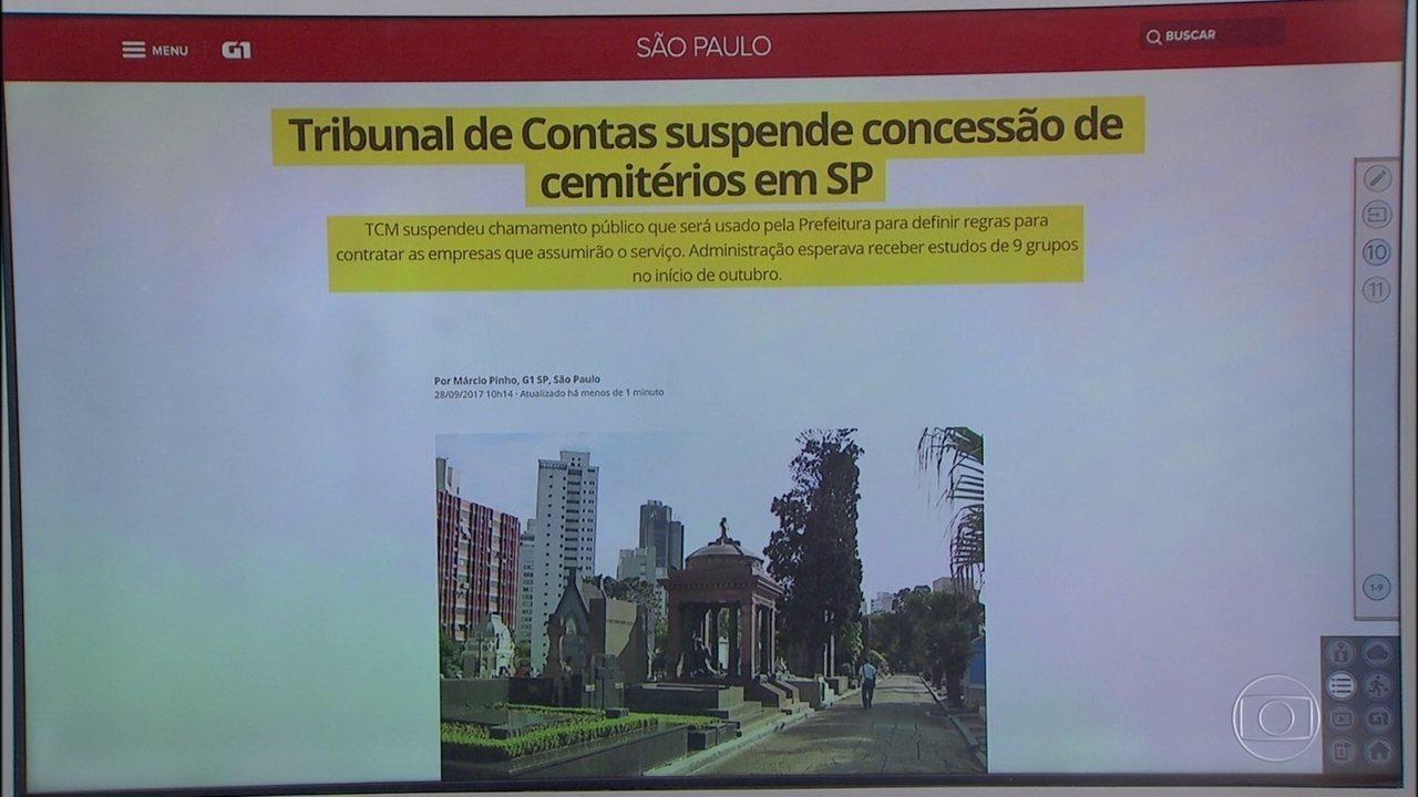 TCM suspende concessão de cemitérios em São Paulo