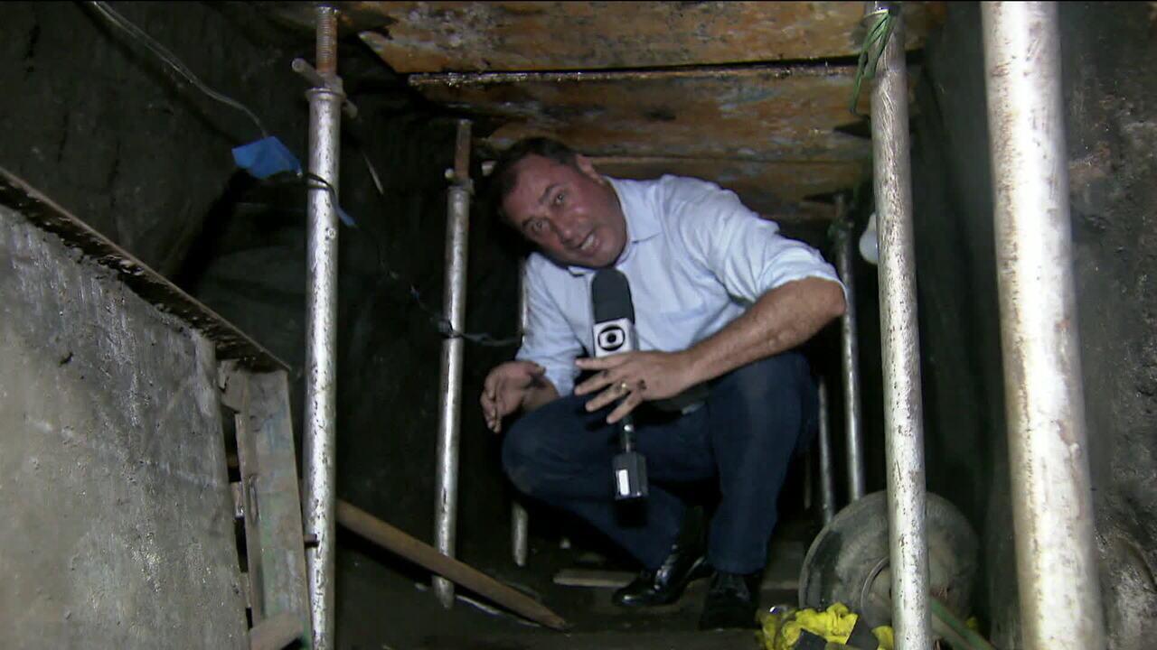 Túnel que ligava casa a cofre do Banco do Brasil é estreito e tinha ventiladores