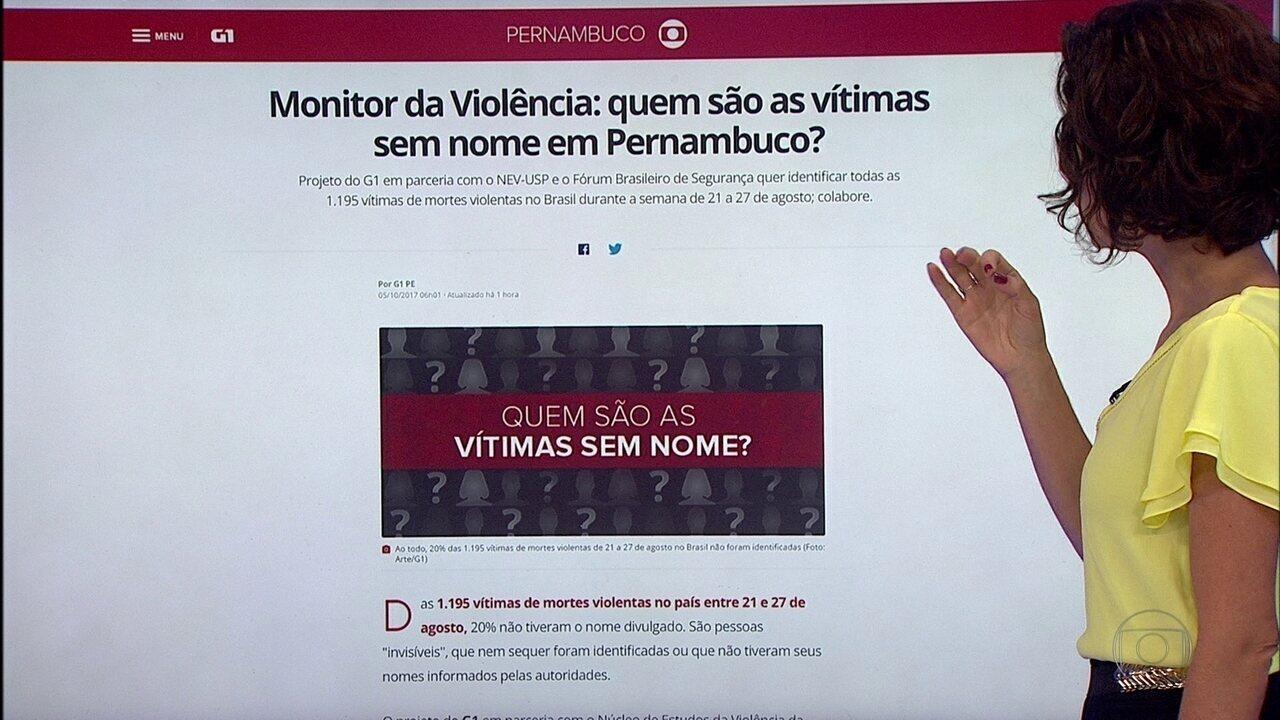 Ajude a identificar as vítimas mapeadas pelo Monitor da Violência, do G1