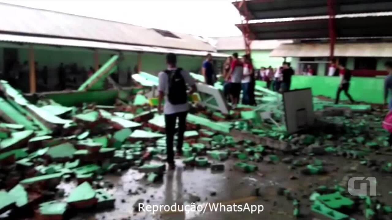 Estrutura de quadra desaba e atinge funcionários de escola durante vendaval