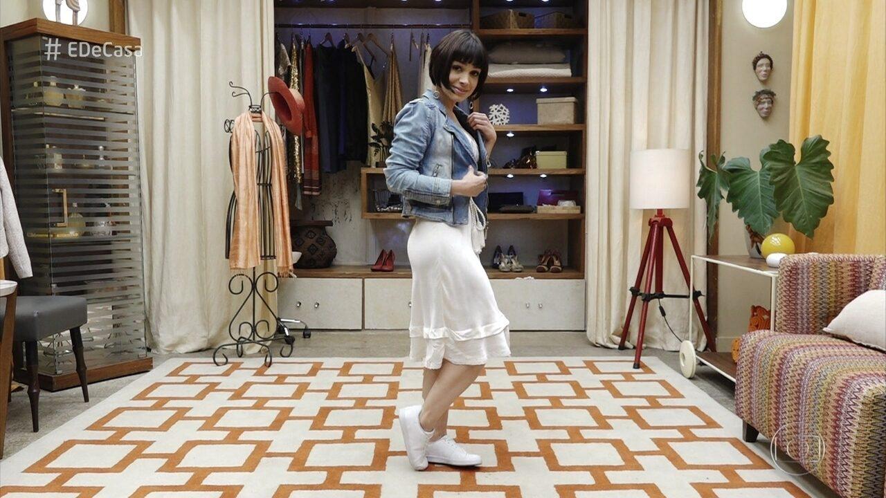 Sabrina Petraglia experimenta looks modernos garimpados em brechó