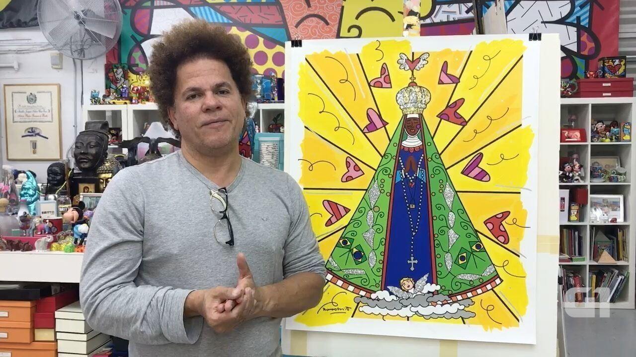 Romero Britto pinta quadro para homenagear Nossa Senhora Aparecida