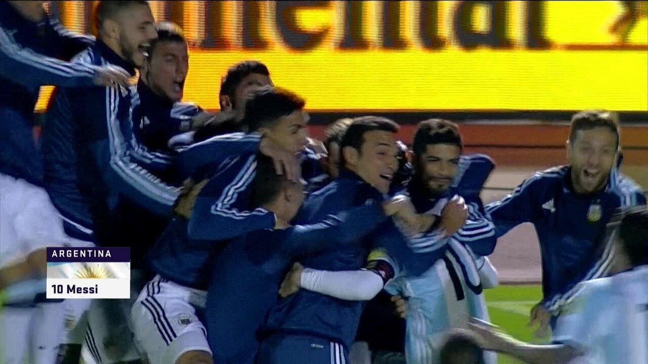 Os gols de Equador 1 x 3 Argentina pelas Eliminatórias da Copa do Mundo