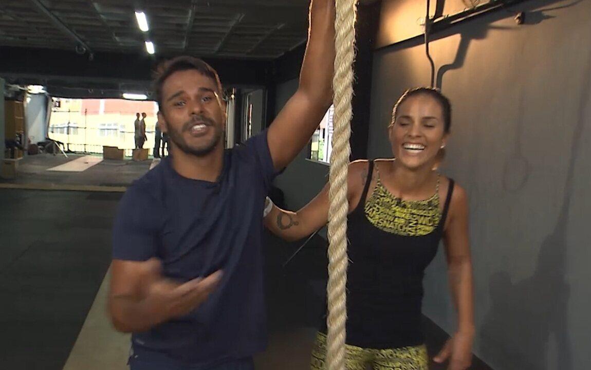 No 'Desafiando', Pablo encara o treino de crossfit com a cantora Ju Moraes