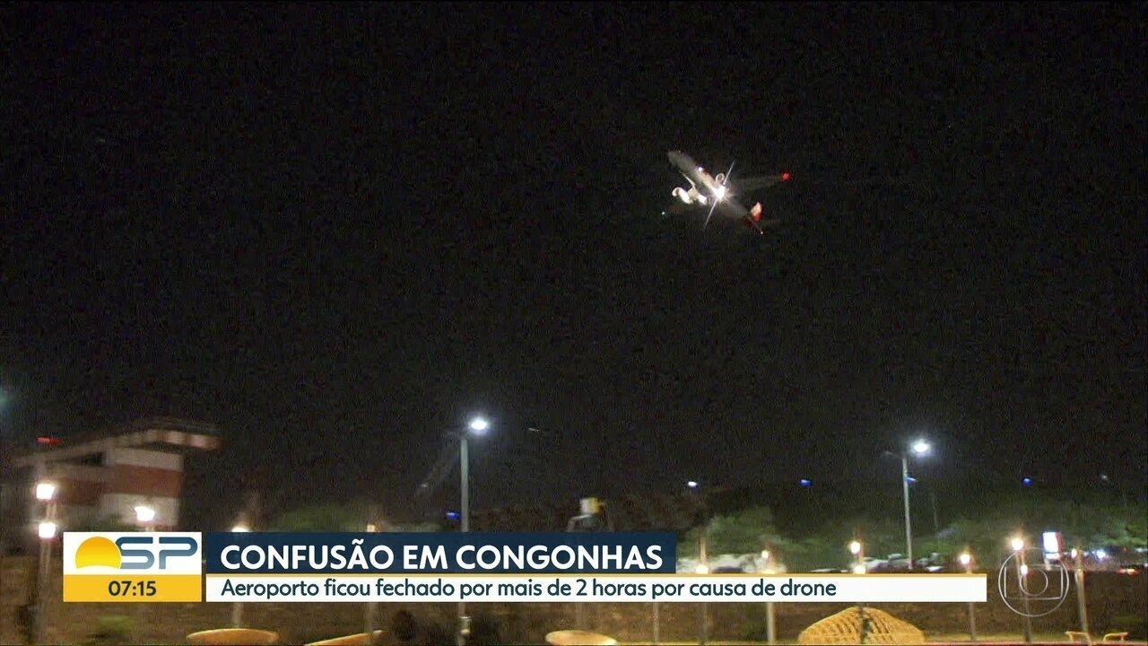 Aeroporto de Congonhas ficou fechado por mais de 2 horas por causa de drone que sobrevoava