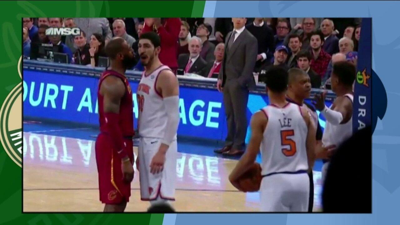 Lebron James se envolve em confusão na partida contra o New York Knicks