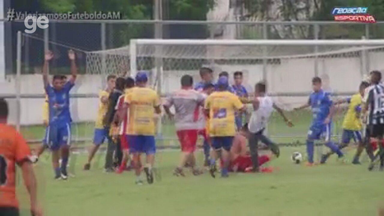 Jogador é agredido durante final do Juvenil do Amazonense; veja
