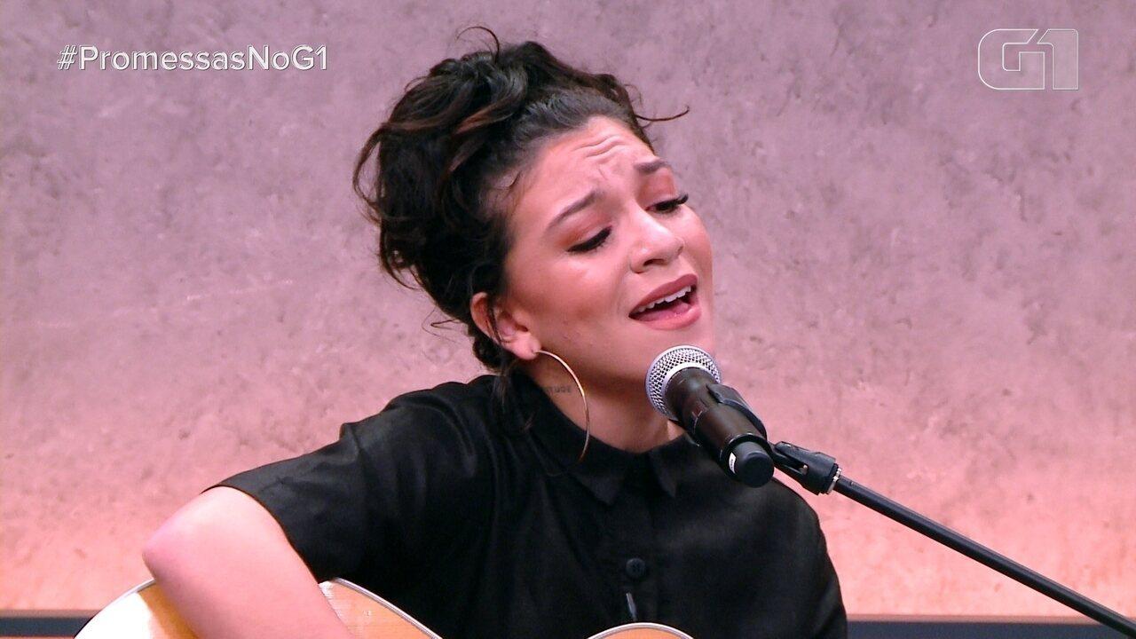 Priscilla Alcantara canta no programa 'Promessas no G1'