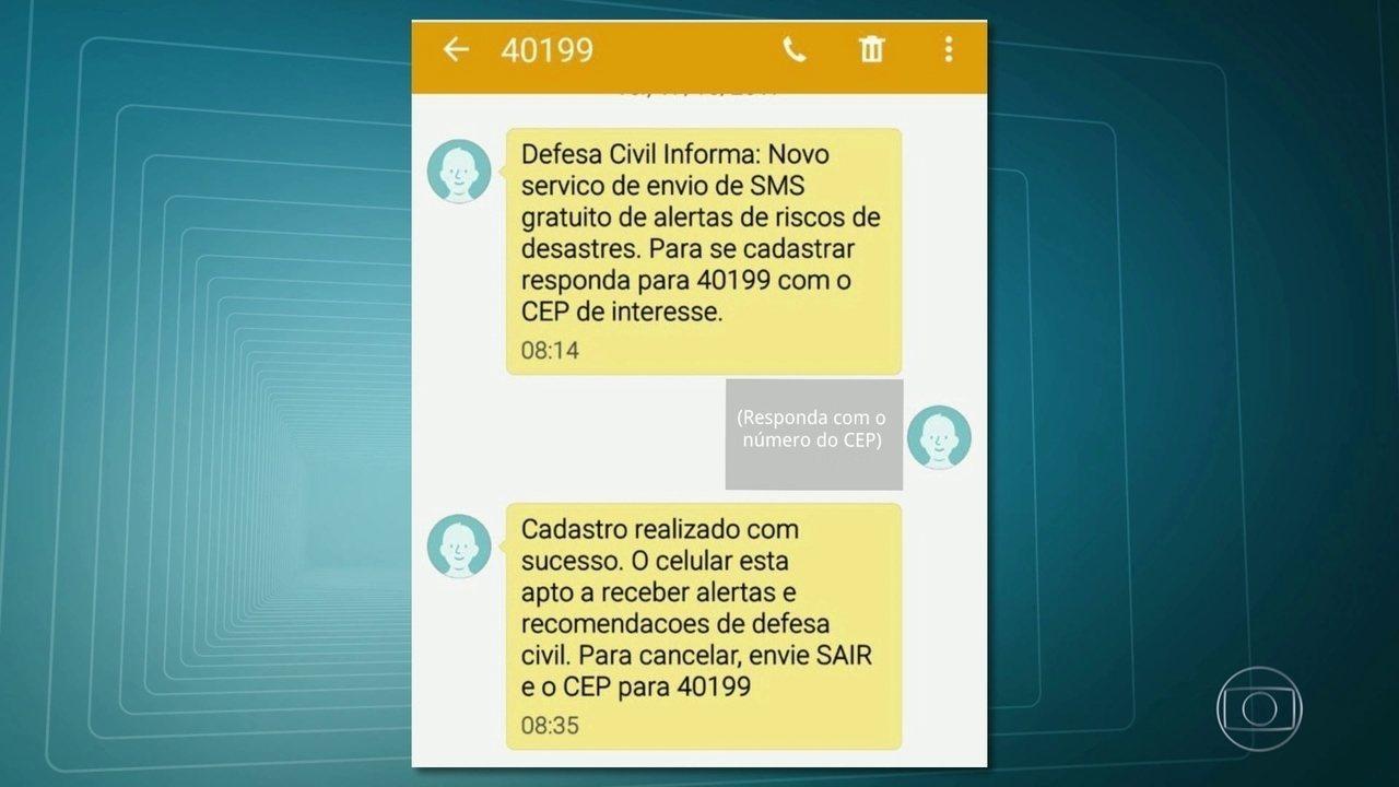 Defesa Civil lança serviço de alerta de riscos pelo celular