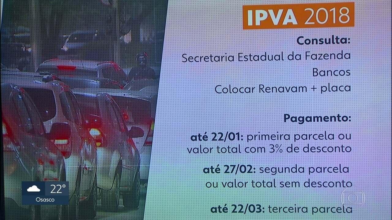 Divulgados valores do IPVA para 2018
