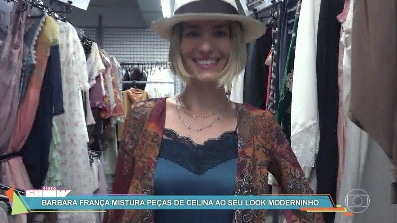 Barbara França mistura peças de Celina ao seu look moderninho