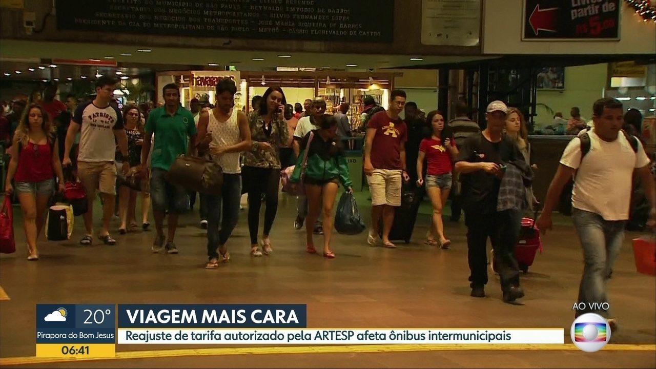 Reajuste de tarifa autorizado pela Artesp afeta ônibus intermunicipais de SP