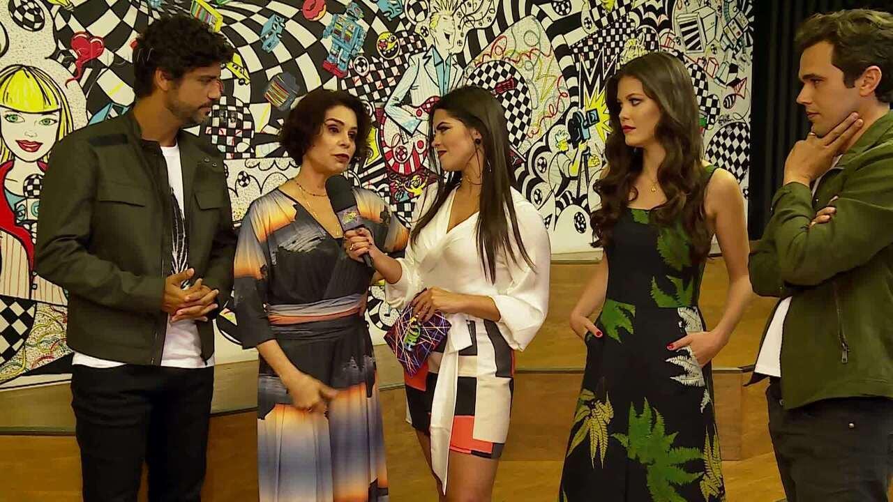 Ana Flávia Simões entrevista o elenco de 'Tempo de Amar', nos bastidores do 'Ding Dong'