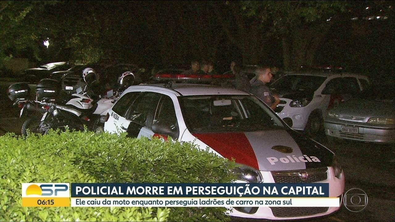 Policial morre ao cair de moto durante perseguição na Zona Sul de SP
