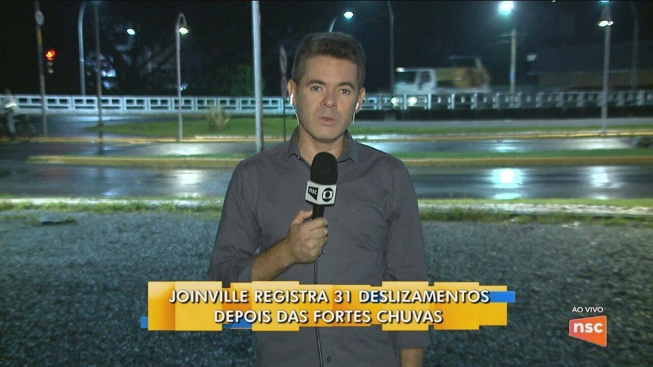 Joinville registra 31 deslizamentos após chuvas fortes