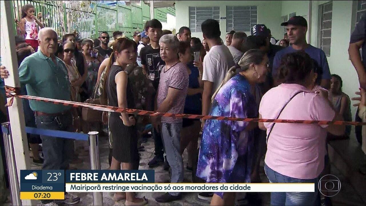 Mairiporã restringe vacinação só aos moradores da cidade