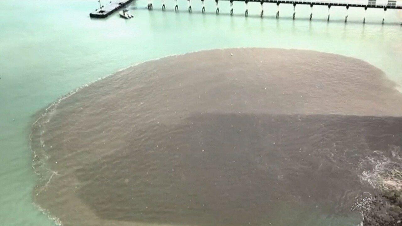 Praia do Mucuripe é coberta por mancha de poluição