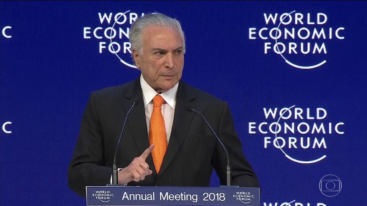 Temer em discurso no Fórum Econômico Mundial, na Suíça