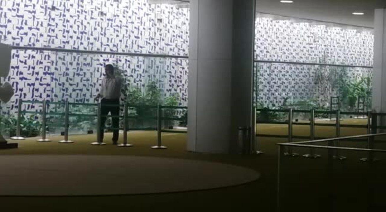 Salão Verde é isolado na Câmara após princípio de incêndio no plenário (Fernanda Vivas/TV Globo)