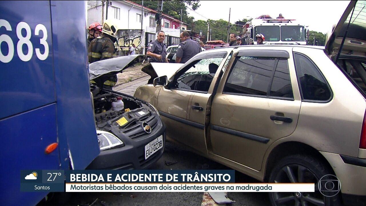 Motoristas embriagados causam dois acidentes graves na madrugada deste sábado (27)