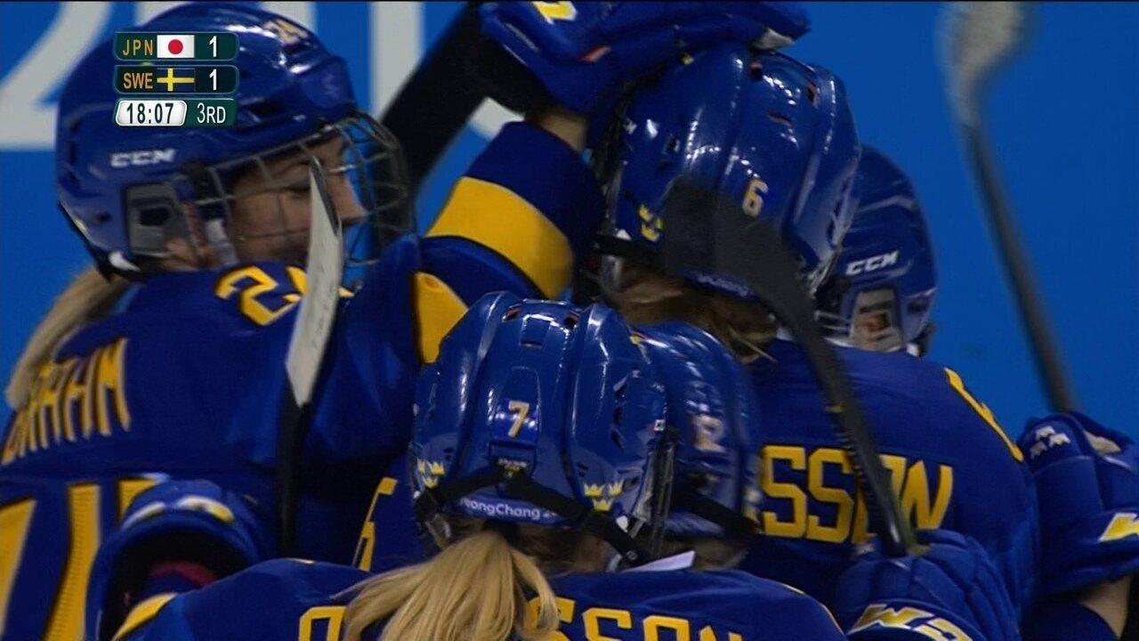 Melhores momentos de Japão 1 x 2 Suécia no hóquei no gelo feminino em PyeongChang 2018