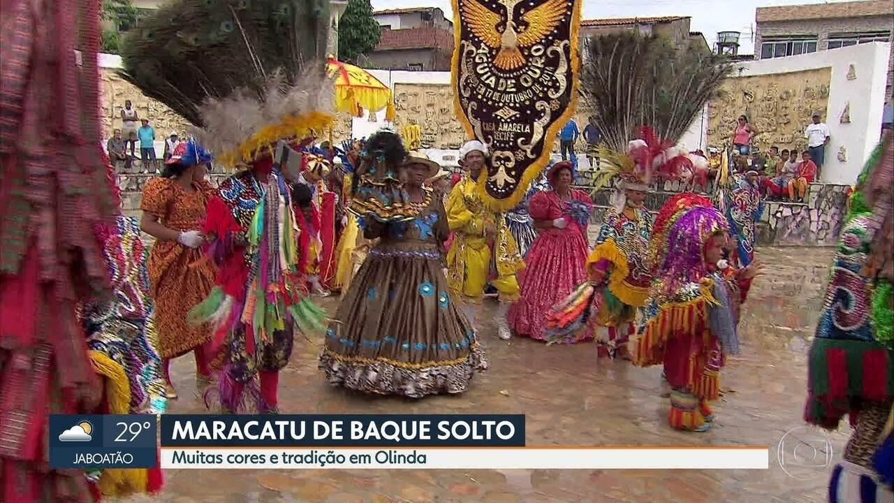 Encontro de maracatus de baque solto leva tradição para a folia em Olinda