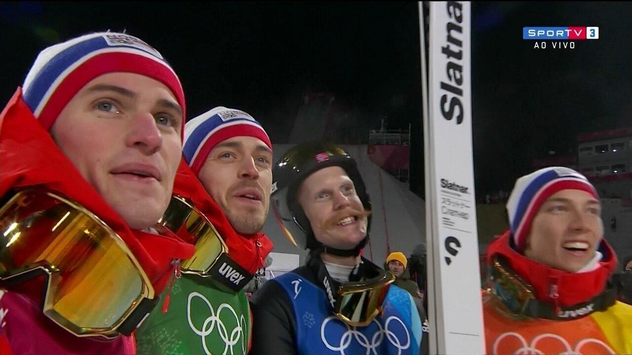 Noruega conquista medalha de ouro no salto com esqui nas Olimpíadas de Inverno