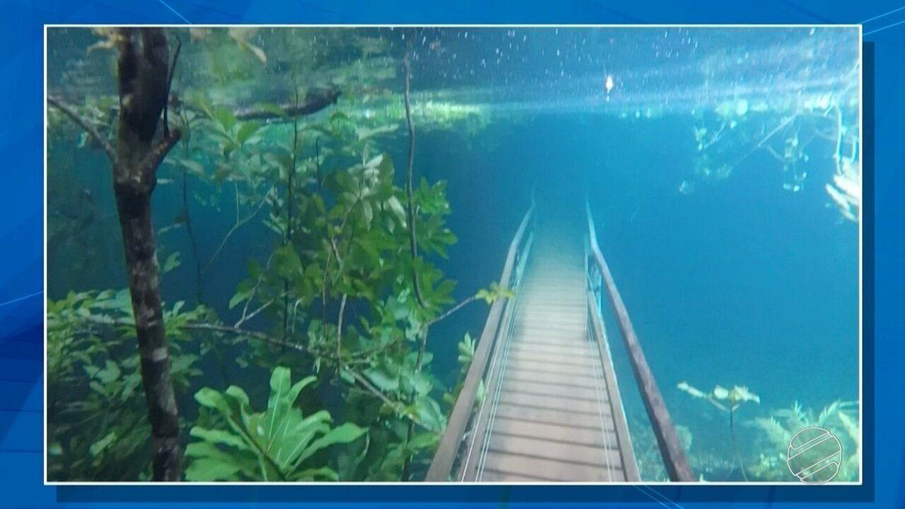 Trilha fica submersa por água transparente após chuva intensa em MS