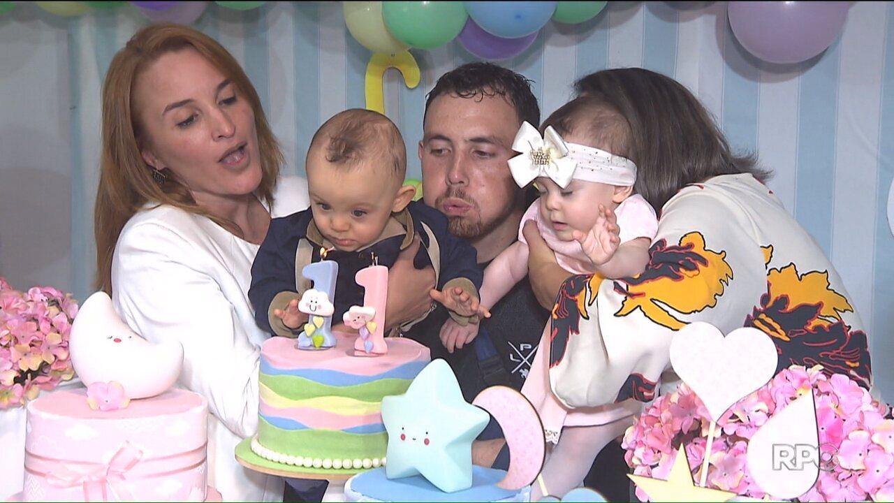Gêmeos que nasceram depois da morte cerebral da mãe completam um ano