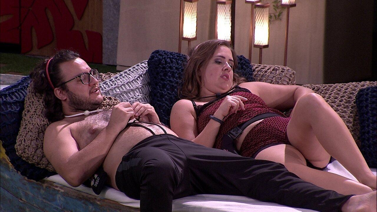 Diego e Patrícia cogitam votar em Paula no próximo Paredão