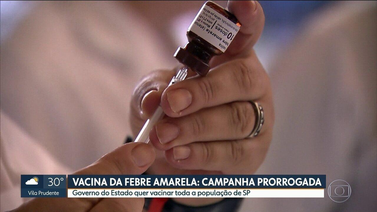Governo do Estado prorroga campanha de vacinação contra Febre Amarela mais uma vez