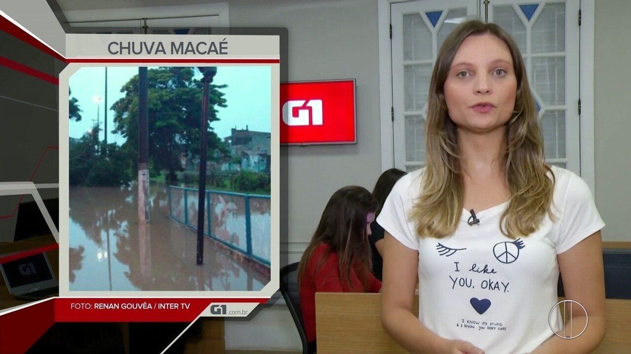 G1 em 1 Minuto: Chuva causa transtornos no interior do Rio