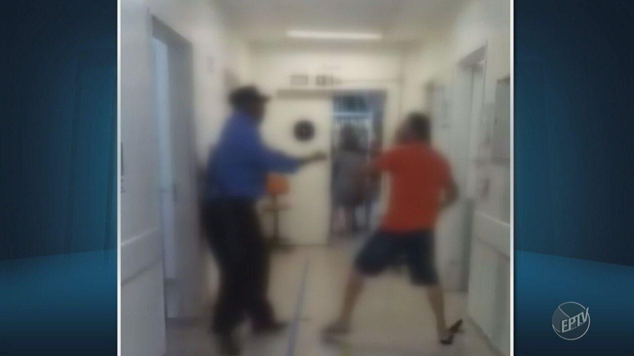 Vídeo mostra agressões entre segurança e marido de paciente no hospital de Paulínia