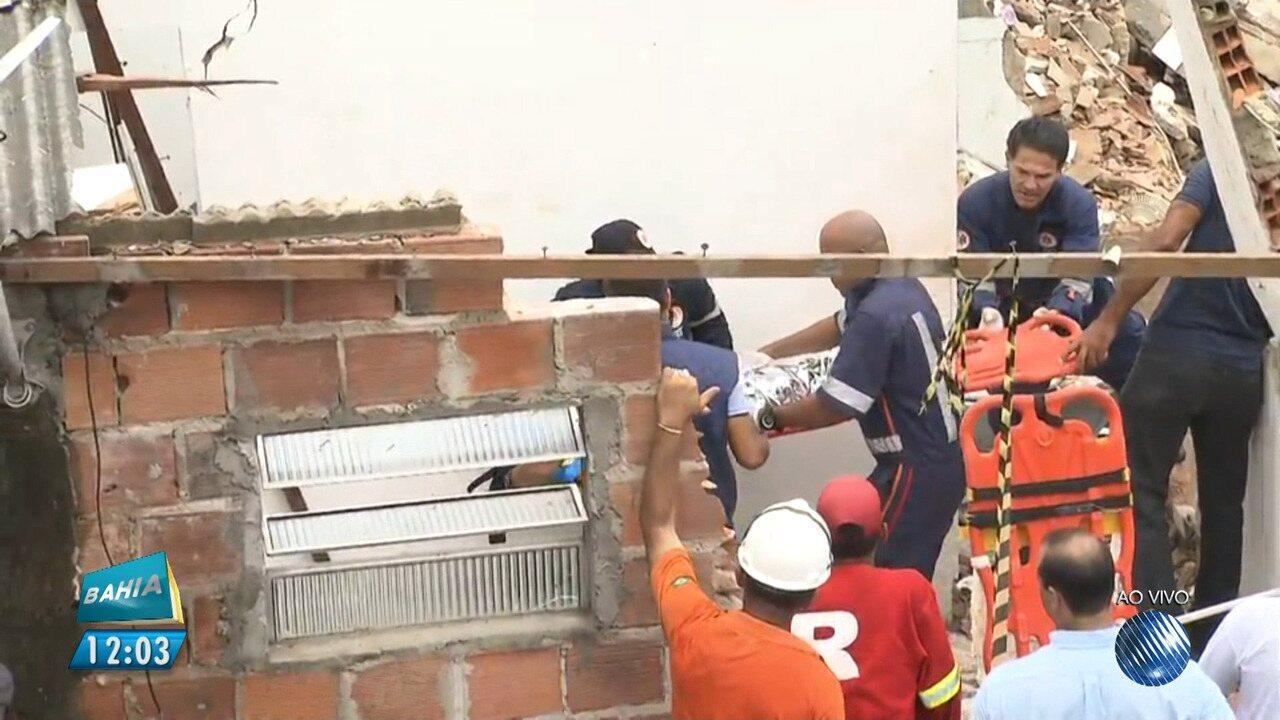 Tragédia: criança de um ano é resgatada após desabamento de prédio no bairro de Pituaçu