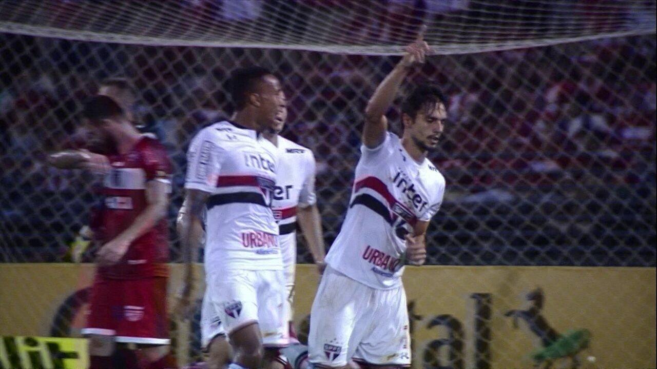 Os gols de CRB 0 x 3 São Paulo pela 3ª fase da Copa do Brasil
