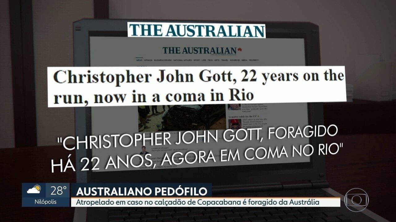 Australiano atropelado em calçadão de Copacabana é foragido por pedofilia