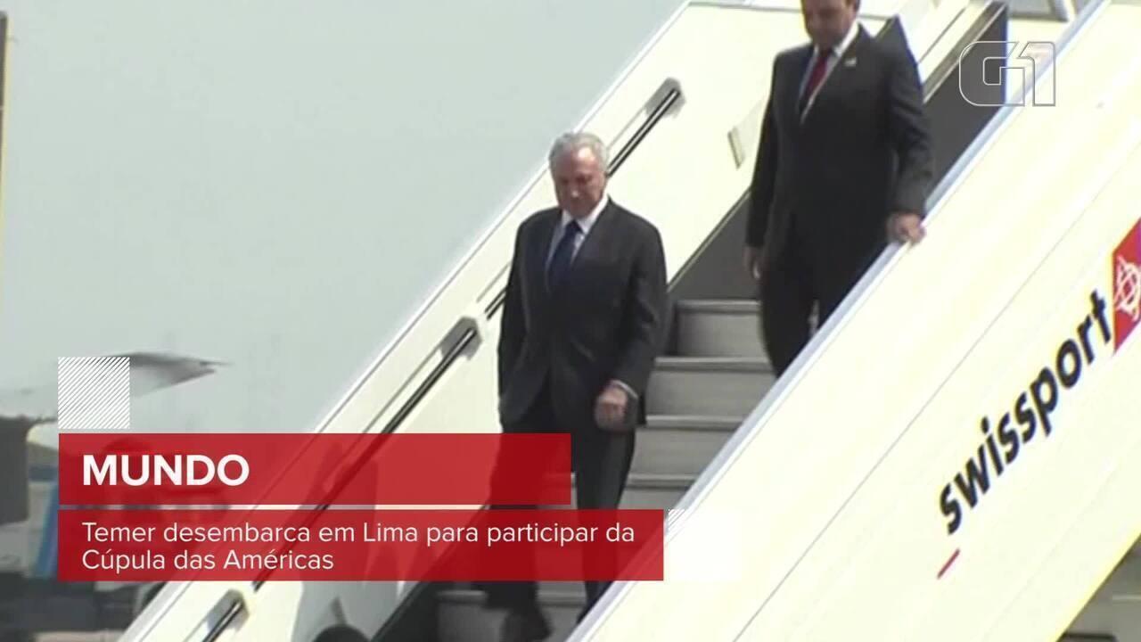 Temer desembarca em Lima para participar da Cúpula das Américas
