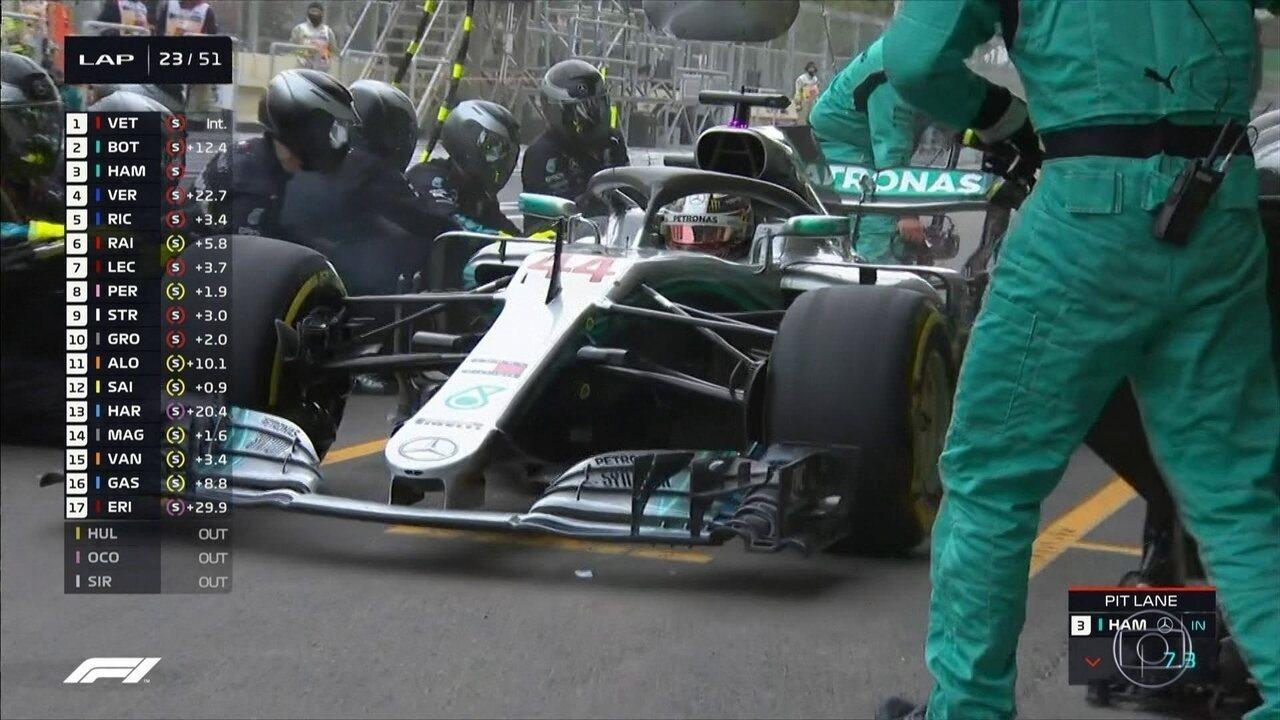 Hamilton antecipa parada nos boxes após travar pneu no GP do Azerbaijão