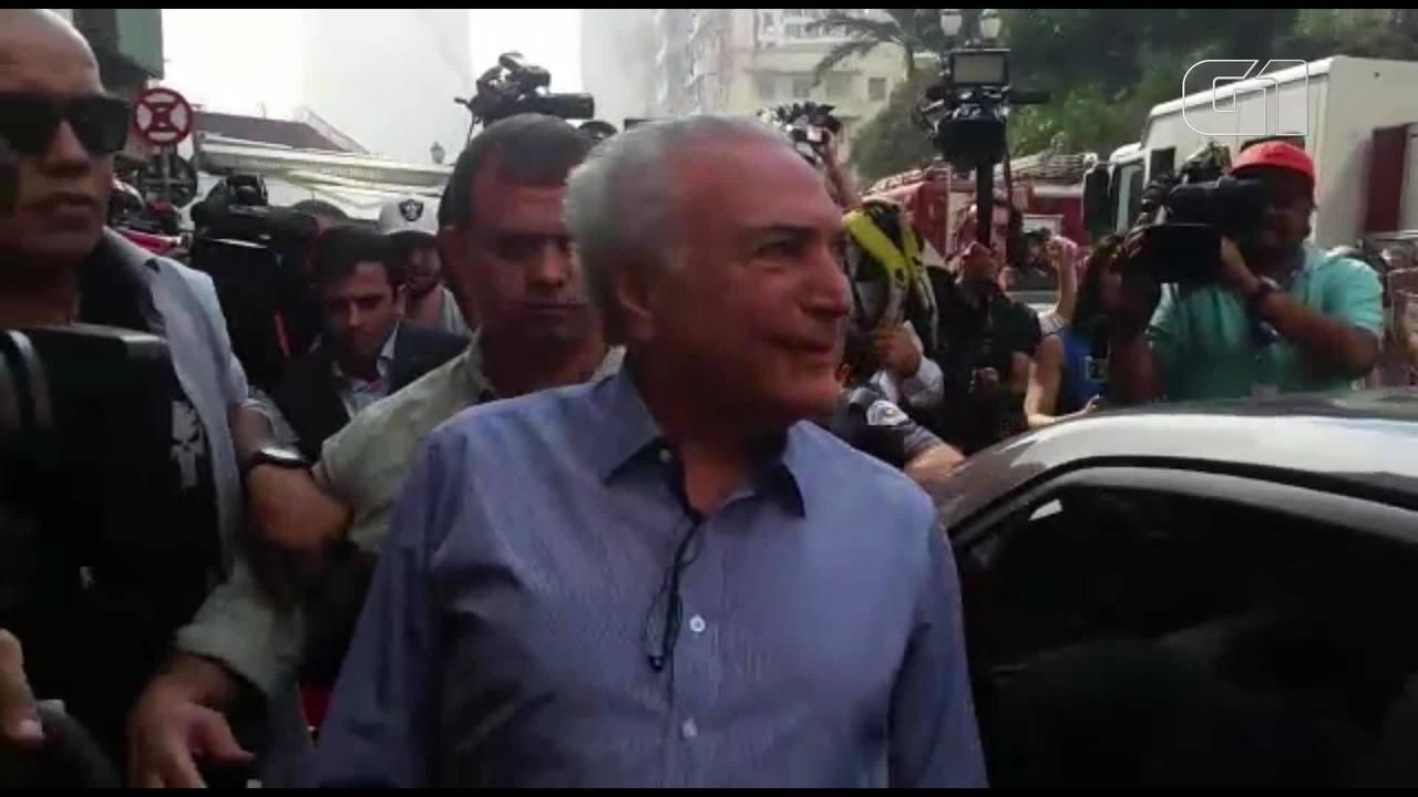 Michel Temer é hostilizado após visitar prédio que desabou no Centro de São Paulo