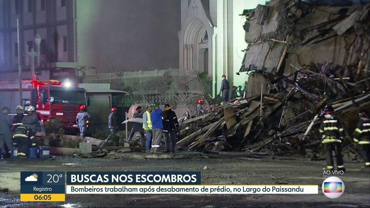 Bombeiros continuam as buscas nos escombros um dia após incêndio