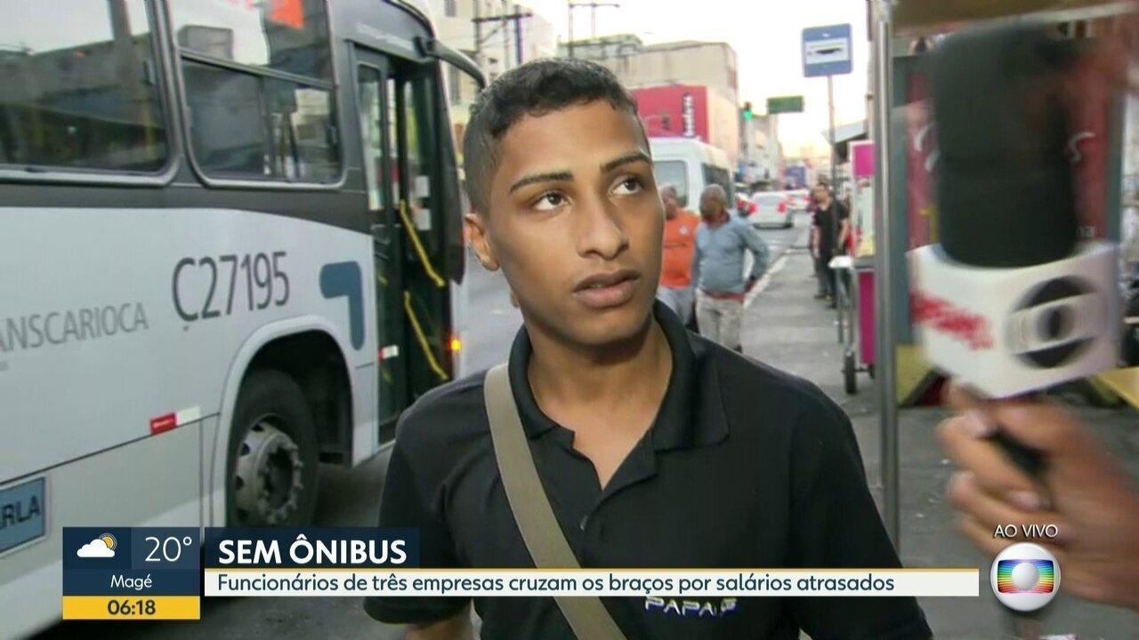 Funcionários de empresas de ônibus fazem paralisação no Rio