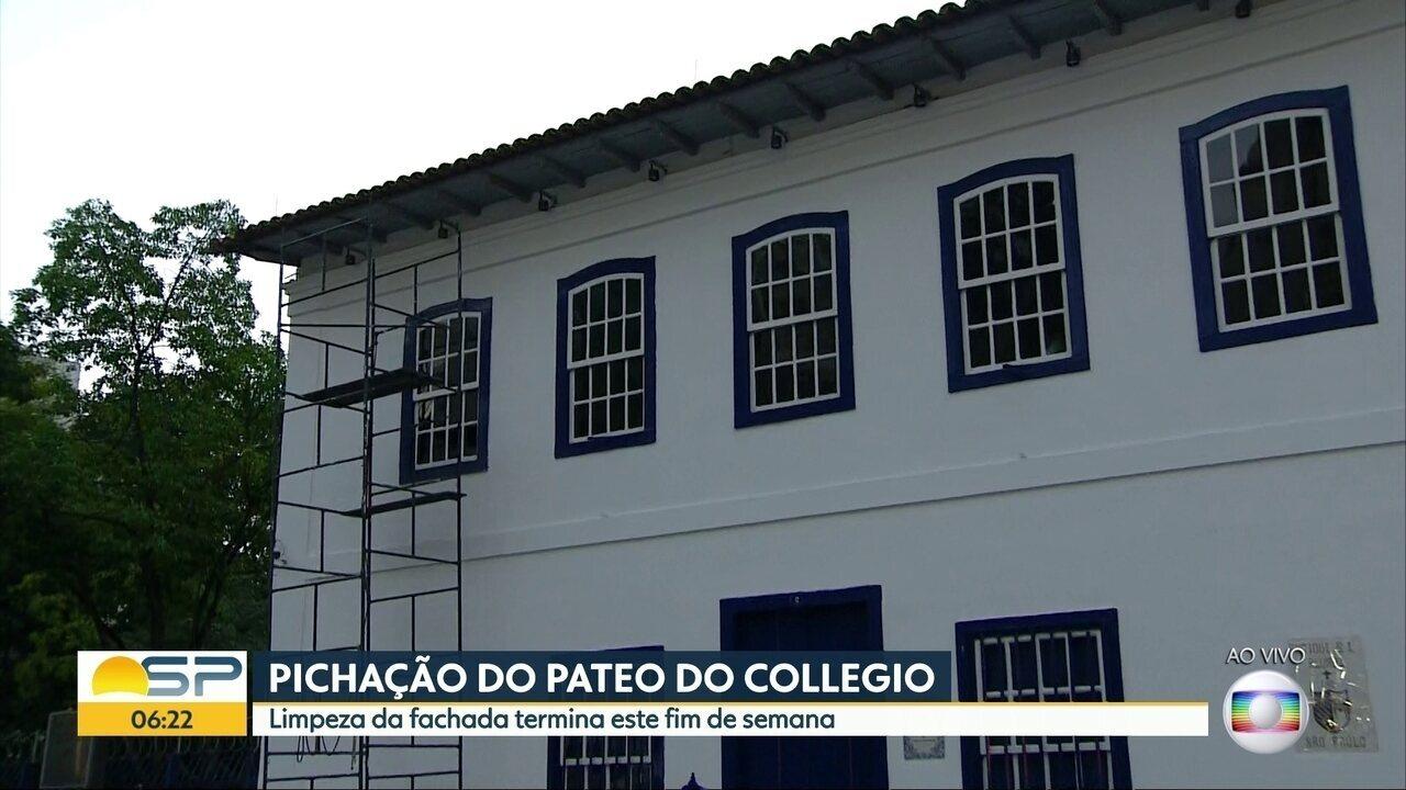 Limpeza e revitalização da fachada do Pateo do Collegio termina neste fim de semana