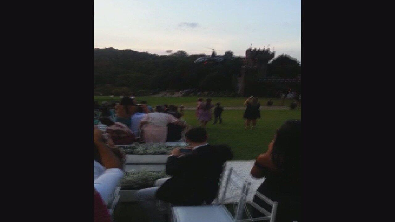 Helicóptero cai com noiva em local de casamento