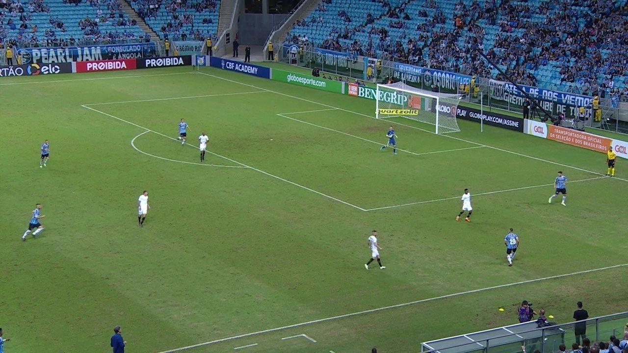 Santos tenta subir a marcação, e o Grêmio sai tocando com qualidade