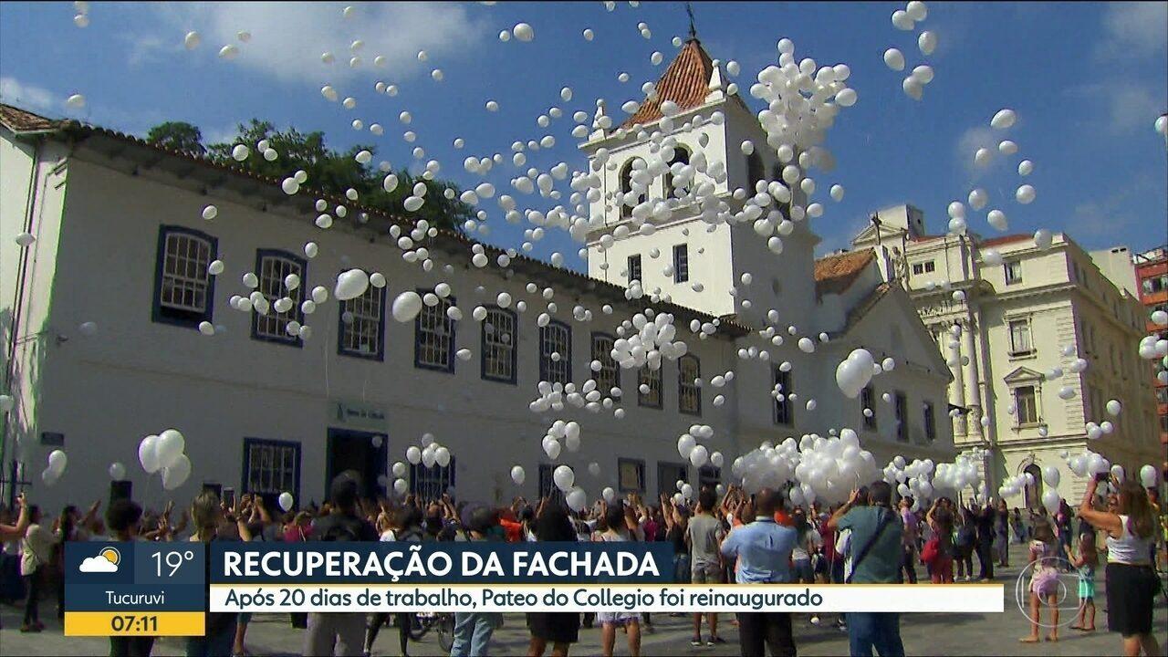 Fachada do Pateo do Collegio foi reinaugurada neste domingo (06)