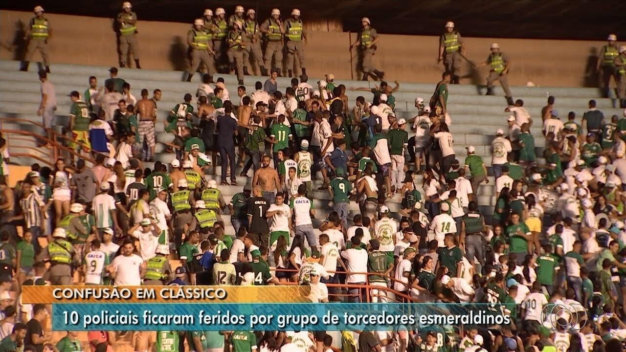 Confusão: torcedores do Goiás entram em conflito com a PM no clássico