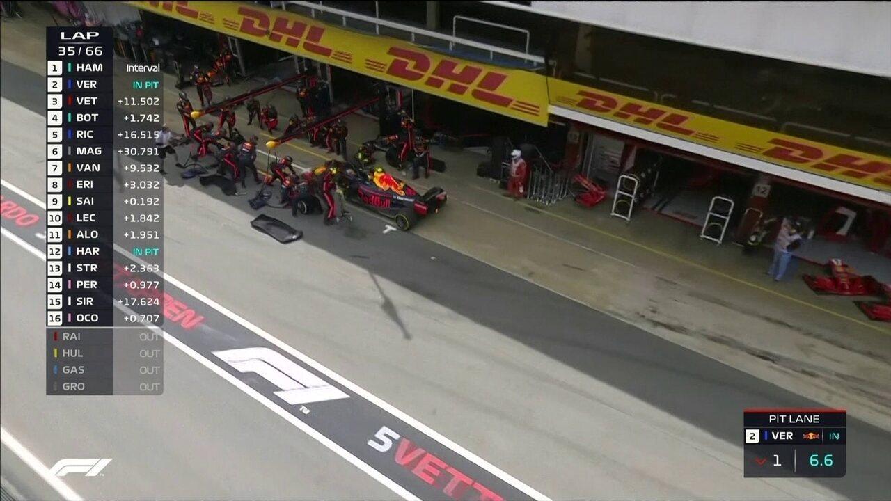 Verstappen faz parada apenas na volta 34, coloca pneus médios e aponta uma parada apenas
