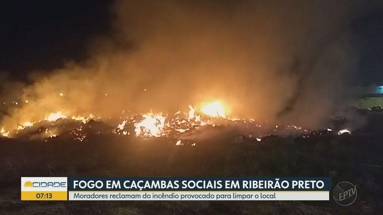 Moradores reclamam de incêndios nas caçambas sociais na Vila Virginia em Ribeirão Preto