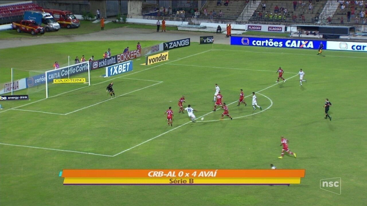 Rodrigão marca duas vezes, Avaí goleia o CRB e entra no G-4 da Série B