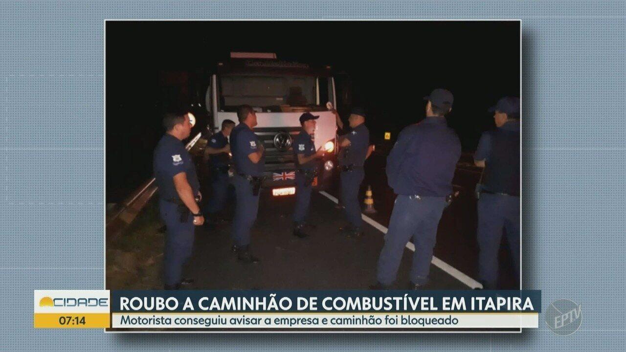 Grupo rouba caminhão de combustível em Itapira
